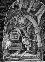 """1947 illustration for the poem, """"The Talmud Student,"""" by Lionel S. Reiss (1894-1988)"""